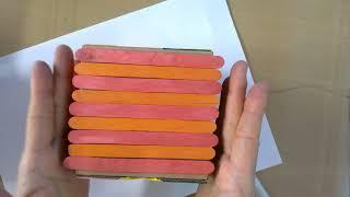 정리함 만들기-상자 접고 나무막대 붙이기