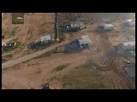 #جيــش_العــزة  تصوير جوي ولحظات تحبس الانفاس اثناء هروب دبابة عصابات الاسد امام تقدم جيش العزة