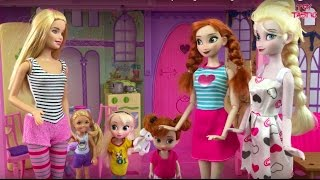 Elsa Frozen & Barbie Dolls Movie! Chocolate Cake! Baby Sitting! Pool Fun! Cooking Doll House!