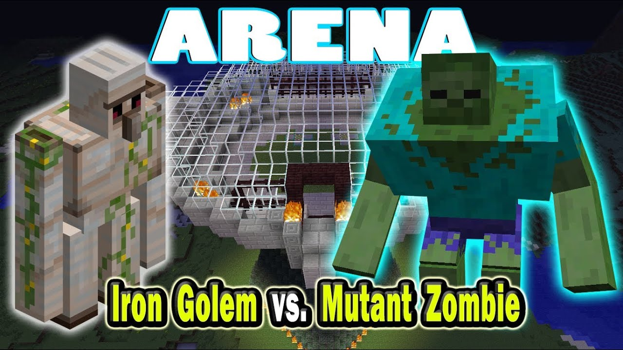 minecraft arena battle iron golem vs mutant zombie youtube