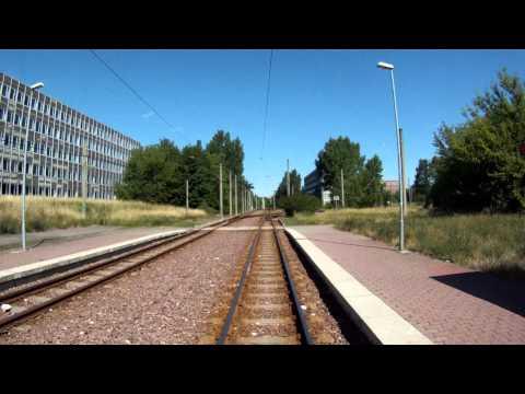 Führerstandmitfahrt Linie 5 in Halle, die längste Linie Ostdeutschlands. tram cab ride