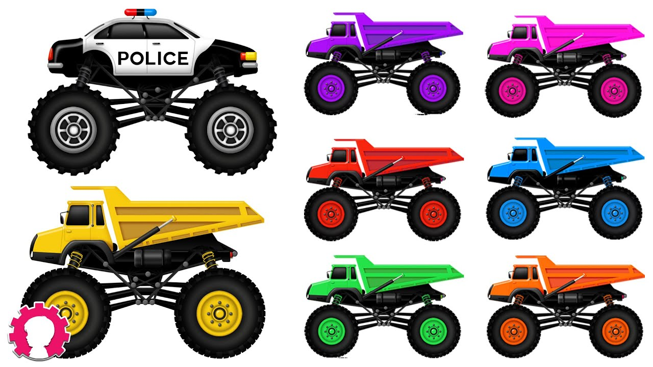 Monster Truck Learn Colors With Trucks Police Car Car Wash