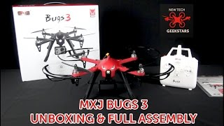 MXJ BUGS 3 BRUSHLESS CAMERA DRONE LIMITED RED UNBOXING & STEP BY STEP FULL ASSEMBLY