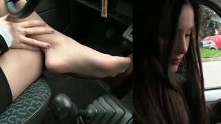 NEW VIDEO !! Pantyhose tease and drive | Starring Miss Iris - Trailer Pedal Pumping