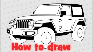 How to draw Jeep Wrangler JL (JK Rubicon)