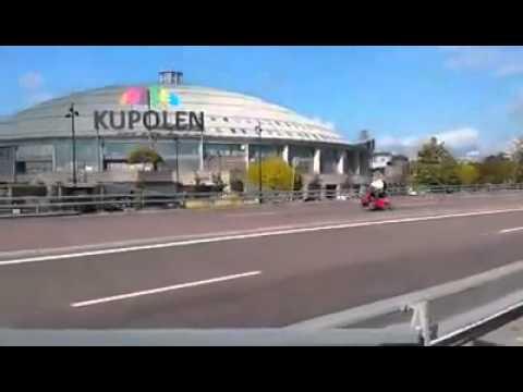 Borlänge - pensionär ute på tur permobilen förbi Kupolen & Ikea