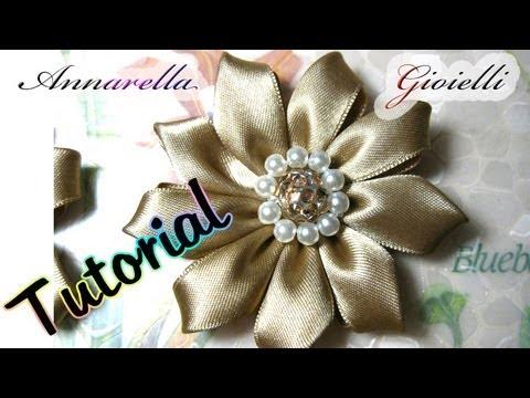 Fiori Kanzashi Tutorial.Tutorial Kanzashi Con Nastro Di Raso Fabric Flower Tutorial