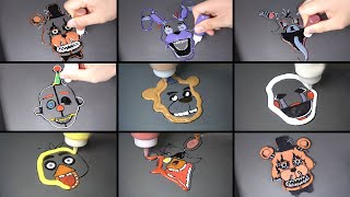 Five Nights At Freddy's The Twisted Ones Pancake Art - Freddy, Foxy, Bonnie, Chica, Fazbear, Puppet