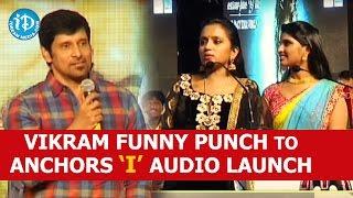 Vikram Funny Punch to Anchors Suma & Shyamala at I Movie Telugu Audio launch