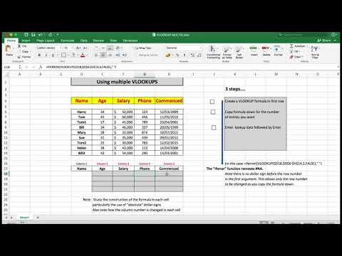 Intermediate to Advanced Excel. Creating multiple VLOOKUPS to see more than one result at a time.