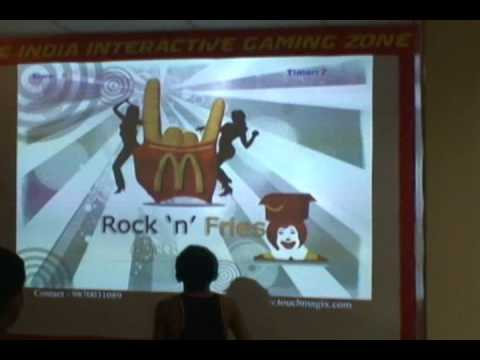 Interactive wall projection system installation by TouchMagix at Mac Donalds Mumbai, India