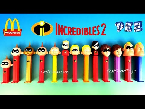 2018 INCREDIBLES 2 PEZ CANDY DISPENSERS FULL WORLD COLLECTION SET McDONALDS HAPPY MEAL TOYS UNBOXING