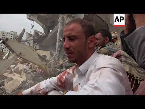 Aftermath of airstrike near Sanaa that killed at least 14