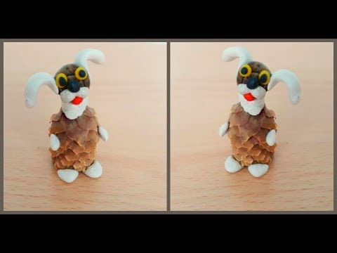 Заяц из шишек и пластилина своими руками & Поделки из шишек / Pine cone bunny crafts