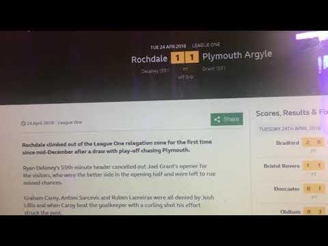 Rochdale's match report last night's game