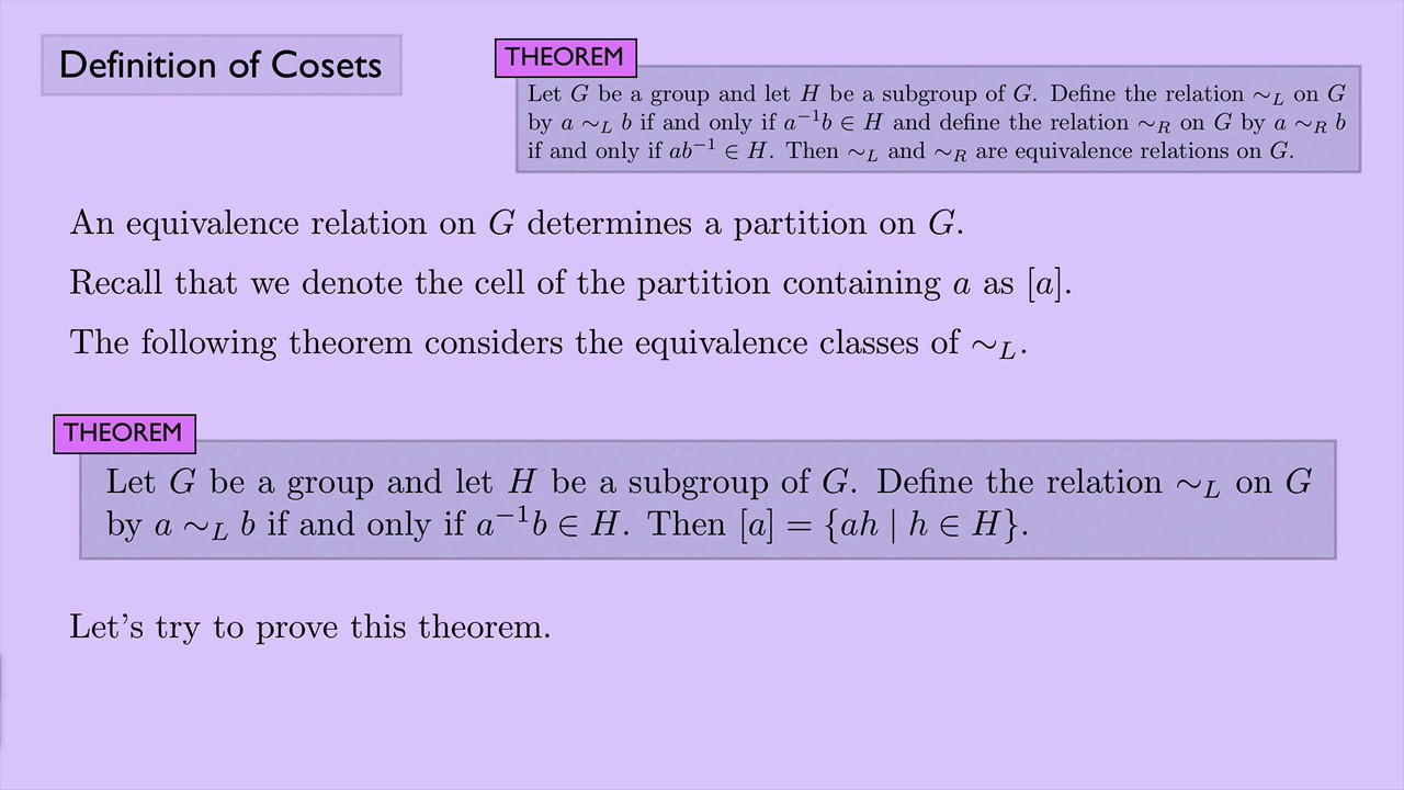 (Abstract Algebra 1) Definition Of Cosets