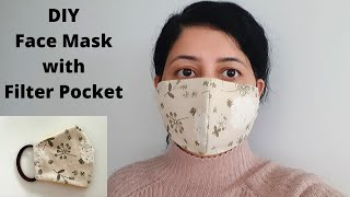 HOW TO SEW A FACE MASK WITH FILTER POCKET | Cloth Face Mask Sewing Tutorial