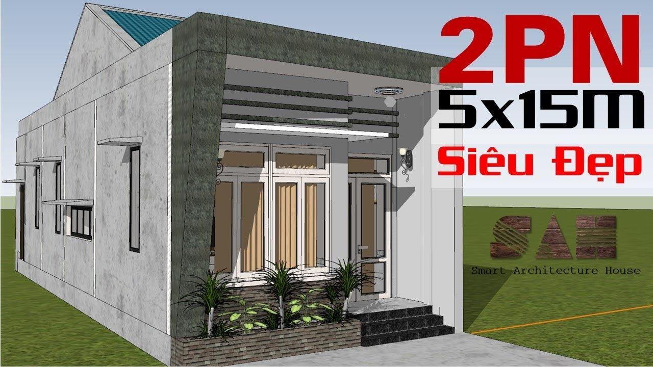 Mẫu NHÀ CẤP 4 : 5X15M  Cực đẹp – 2 Phòng ngủ, Bếp, Phòng khách Giá rẻ nhất