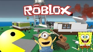 PACMAN, MINIONS AND SPONGEBOB + Roblox Survive The Disaster
