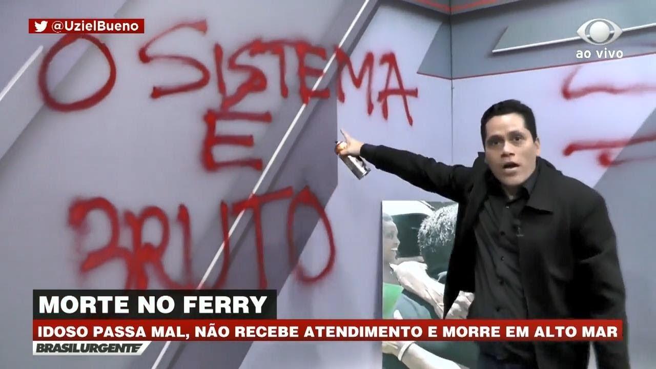 Apresentador picha e destrói cenário do Brasil Urgente ao vivo