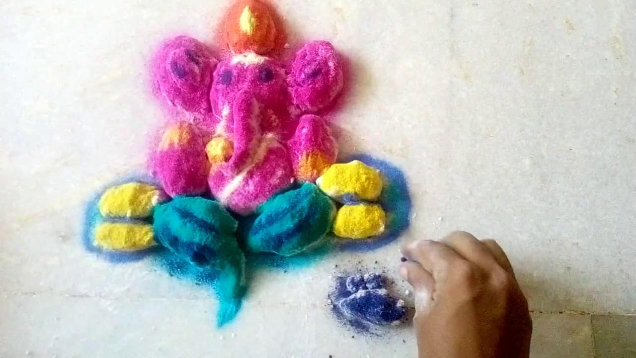 3d vinayagar rangoli with kolamaavu youtube