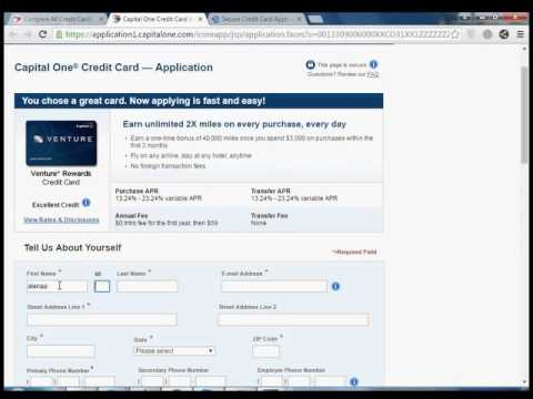 Credit One Application >> How To Apply Capital One Credit Card Venture Rewards Youtube