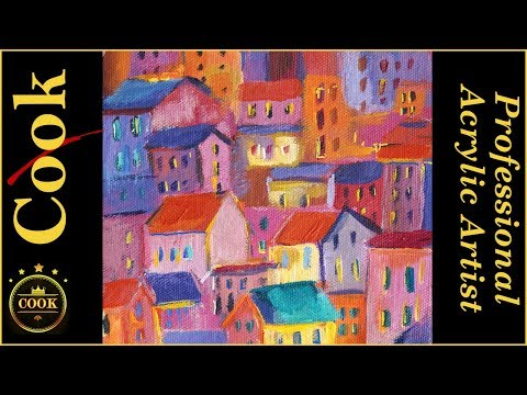 Mediterranean Village Abstract Acrylic Painting Tutorial for Beginner and Advanced Artists