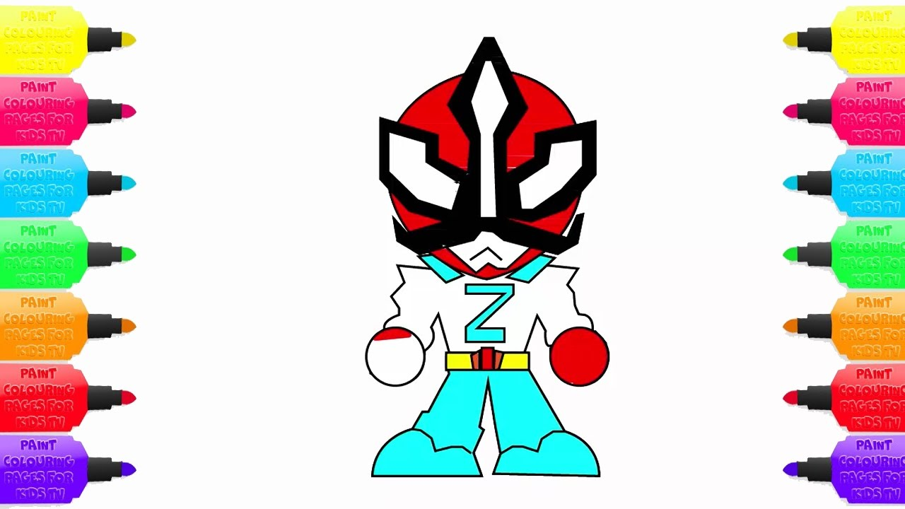 coloring pages power rangers learn colors and draw for kids