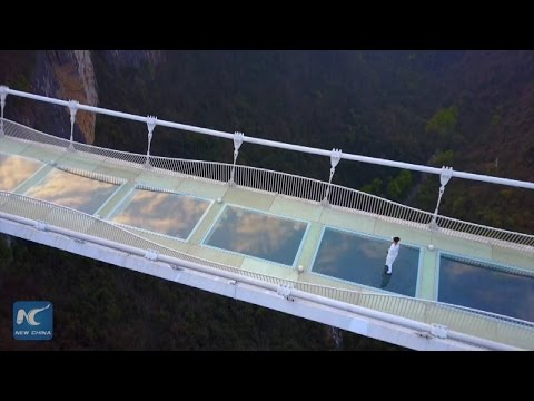 Taiji master performs on world's highest glass bridge