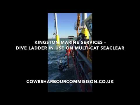 Dive ladder on the Kingston Marine Services multi-cat Seaclear