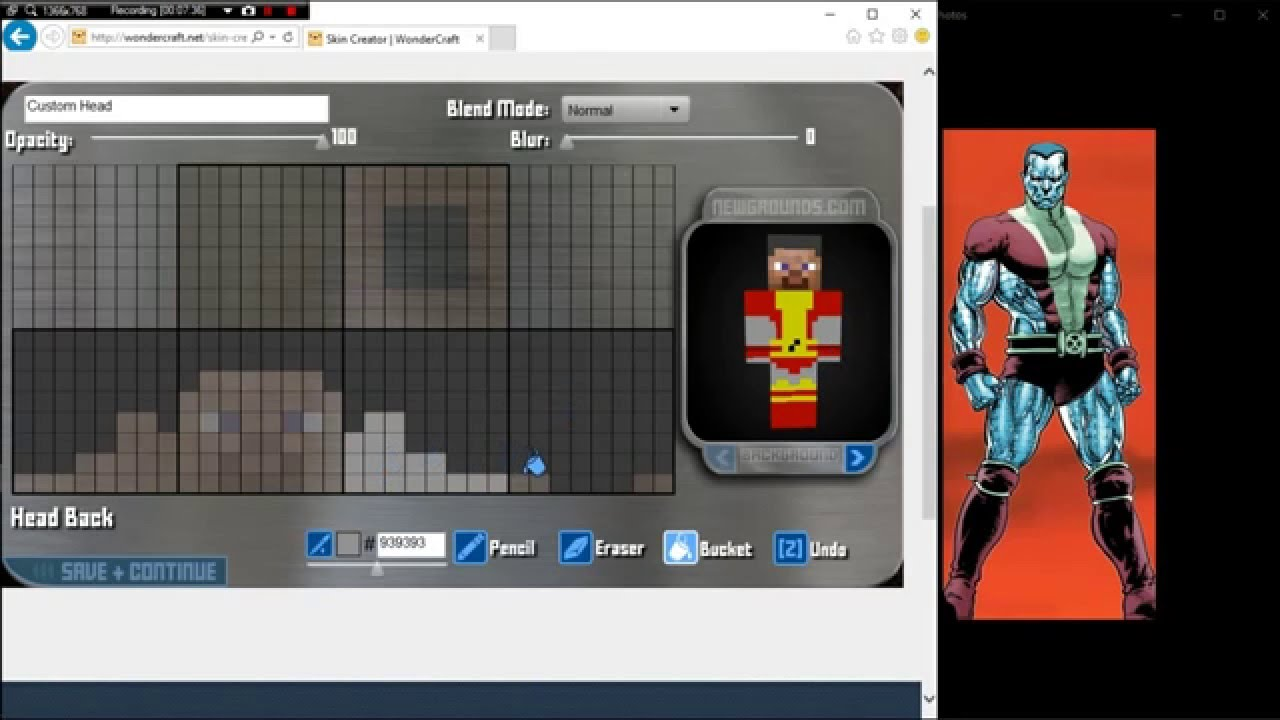 Minecraft  Skin Making How To Make Colossus Out Of X-Men - YouTube