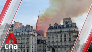 Notre-Dame cathedral spire collapses as massive fire rips through the building