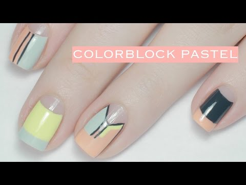 Pastel Colorblock | Spring Nail Art - YouTube