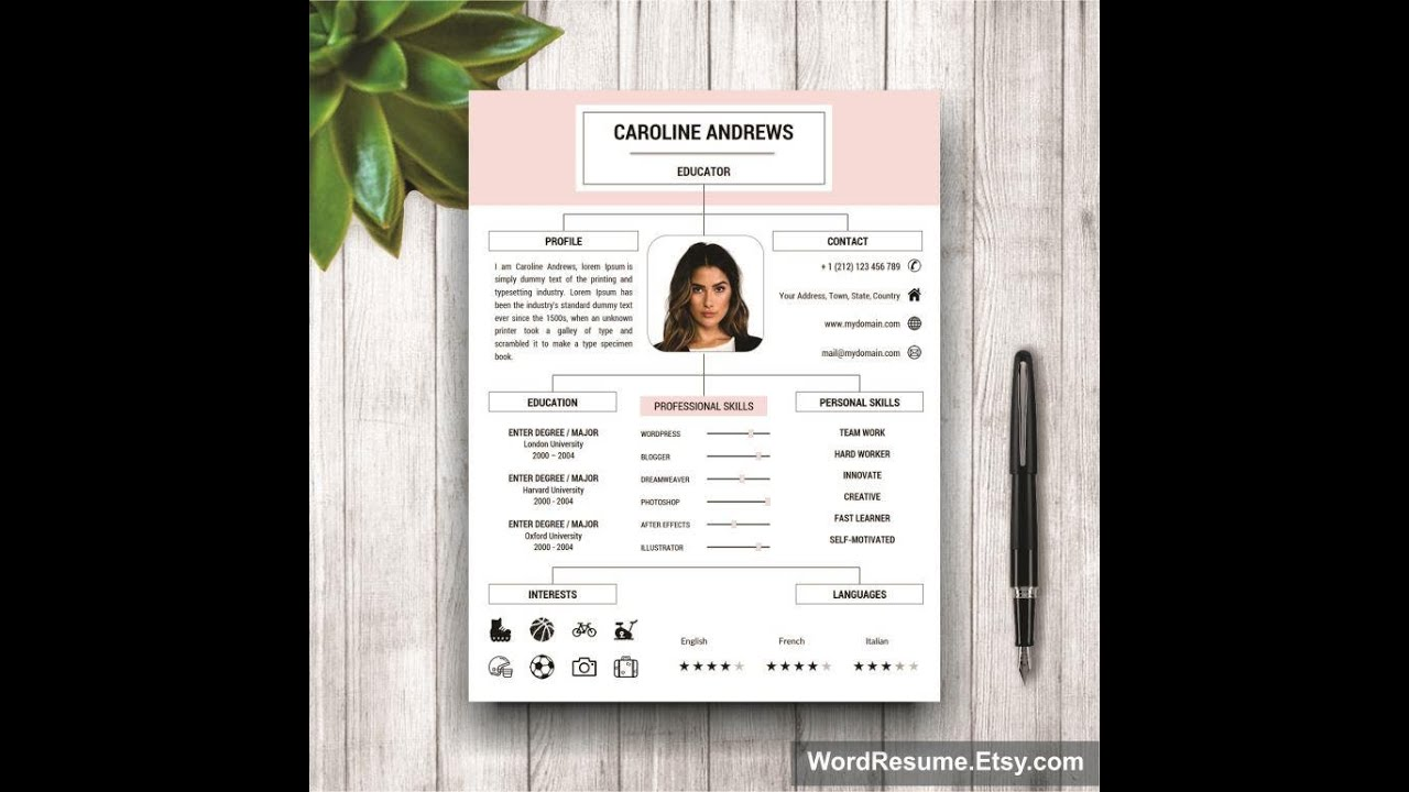Modern Resume Template For Microsoft Word  Youtube