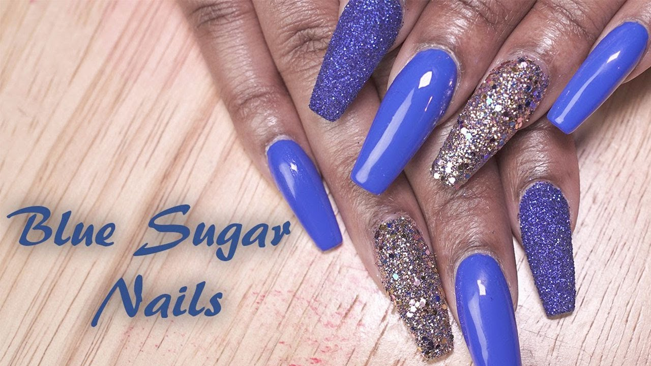 Acrylic Nails Blue Sugar Fill In Longhairprettynails You