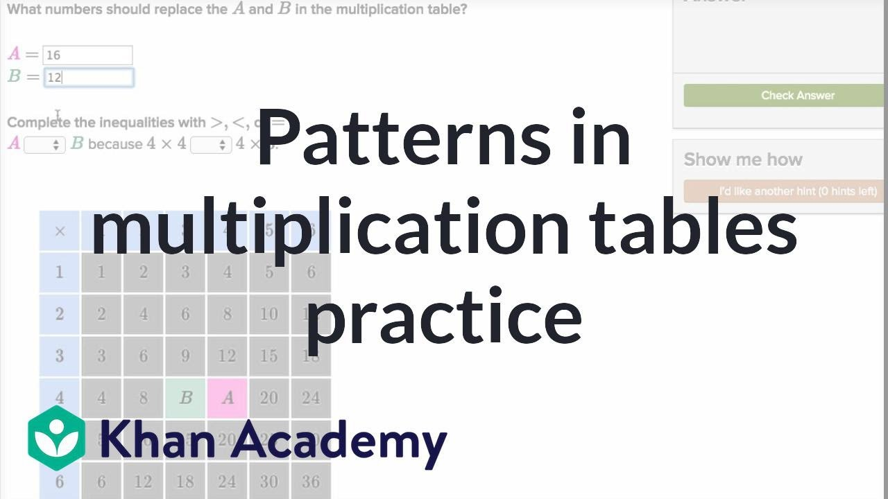 Patterns in multiplication tables practice multiplication and patterns in multiplication tables practice multiplication and division 3th grade khan academy gamestrikefo Images