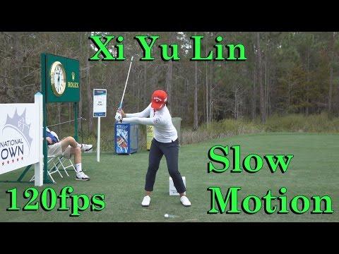 XI YU LIN 120fps SLOW MOTION FACE ON IRON GOLF SWING 1080 HD