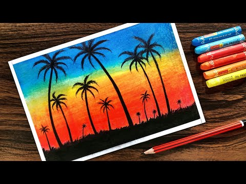 Landscape Drawing for beginners with Oil Pastel Step by Step