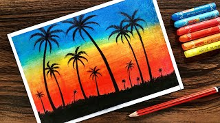 Landscape Drawing for beginners with Oil Pastel Step by Step thumbnail
