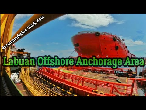 Labuan Malaysia Offshore. Supply Boat, Accomodation Work Barge, Offshore Vessel Anchoring Area