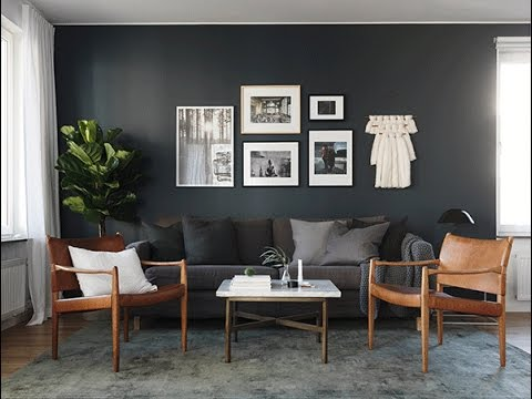 Interior design dark grey walls youtube Grey interior walls