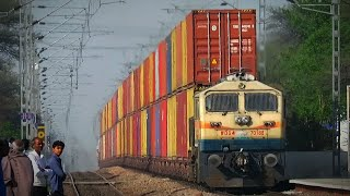 भारत का एकमात्र दो मंजिला कंटेनर रेलवे मार्ग:- DOUBLE vs Single Stack Container train?? WDG-4 Power