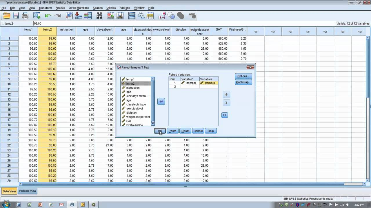 How To Use Spss Dependent Or Paired Sample T Test