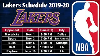 Lakers Complete Schedule 2019-20 NBA Season till December 1st