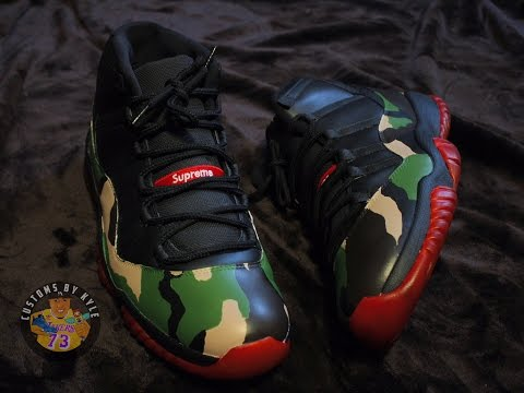 """Air Jordan 11 """"Supreme"""" Custom + Time Lapse"""