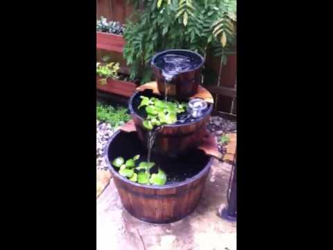 GIFTE-MART 3 tier wood whiskey wooden apple Wine Barrel Outdoor Garden Patio pond water Fountain kit