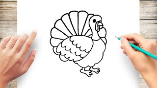 How to Draw Turkey Step by Step for Kids Easy
