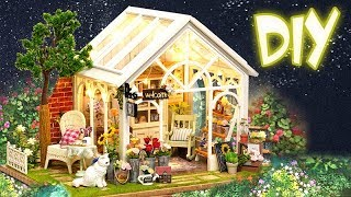 DIY Miniature Dollhouse Kit || Green Garden ( with full furniture and light )