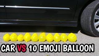 Experiment   CAR VS 10 EMOJI BALLOON