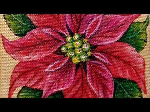 Christmas Poinsettia Flower LIVE Acrylic Painting Tutorial